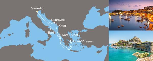 Routenverlauf Costa Lust auf Griechenland