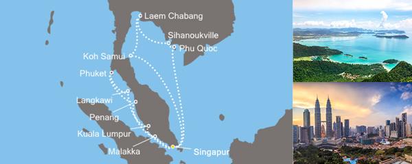 Routenverlauf Costa Der Ferne Osten, Strände und Kultur