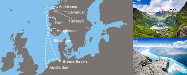 Routenverlauf Zauber der Fjorde am 25.05.2019