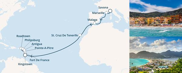 Routenverlauf Costa Karibisches Meer