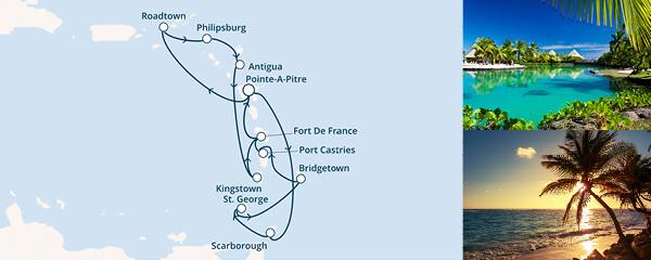 Routenverlauf Costa Bezaubernde Kleine Antillen und die Magie der Karibik