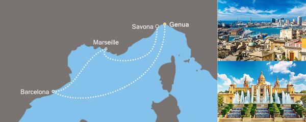 Routenverlauf Costa Das Blau des Meeres