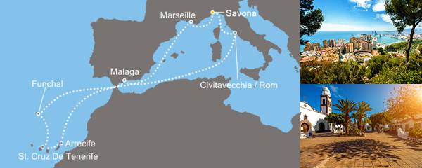 Routenverlauf Costa Inseln der Sonne