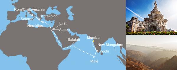 Routenverlauf Rückkehr aus Indien am 16.03.2019