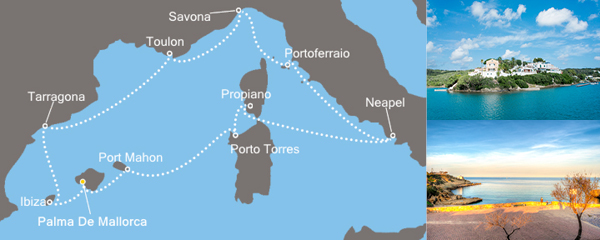 11 Tage Mediterraner Genuss mit der Costa neoRiviera