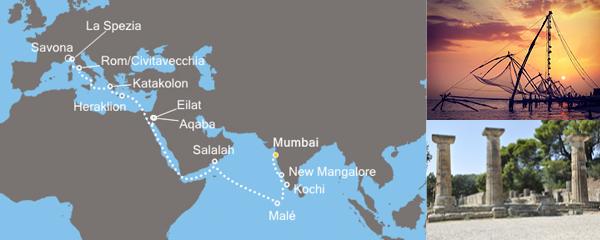 Routenverlauf Vom indischen Ozean zum Mittelmeer der Antike am 29.02.2020