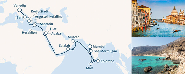 Routenverlauf Von Italien zum indischen Ozean am 12.10.2019
