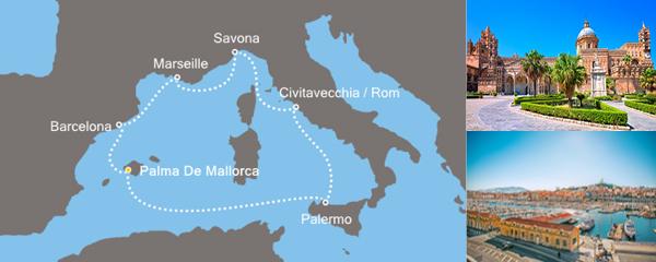Routenverlauf Zauberhaftes Mittelmeer am 26.02.2019