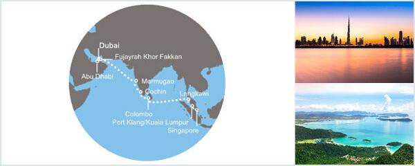 Routenverlauf Auf den Spuren von Marco Polo von Dubai nach Singapur am 27.03.2019