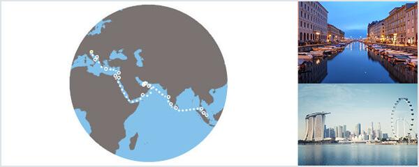 Routenverlauf Auf den Spuren von Marco Polo von Triest nach Singapur am 08.03.2019