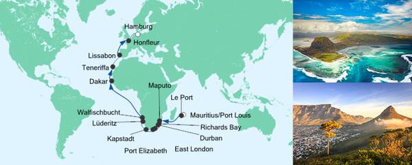 AIDA VARIO Kurzfristverkauf Von Mauritius nach Hamburg