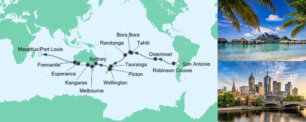 Routenverlauf Von San Antonio nach Mauritius 2 am 02.12.2019