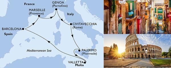 Routenverlauf MSC Mittelmeer mit MSC Meraviglia