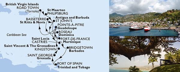 Routenverlauf MSC Karibik, Kuba & Antillen mit MSC Preziosa