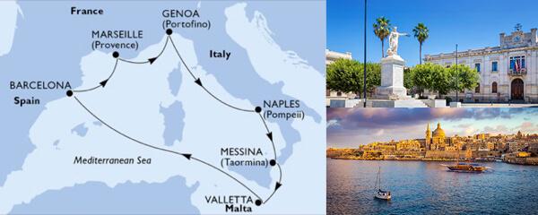 Routenverlauf MSC Mittelmeer mit MSC Bellissima