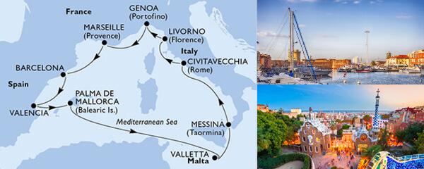 Routenverlauf MSC Mittelmeer mit MSC Sinfonia