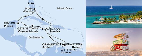 Routenverlauf MSC Karibik, Kuba & Antillen mit MSC Divina