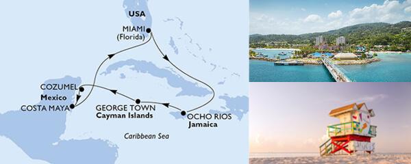 Routenverlauf MSC Karibik, Kuba & Antillen mit MSC Seaside
