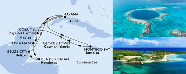 Routenverlauf MSC Karibik, Kuba & Antillen mit MSC Opera