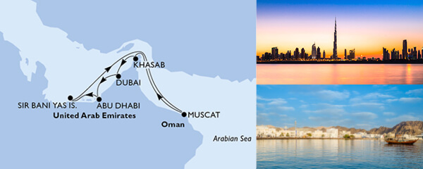 Routenverlauf MSC Dubai, Abu Dhabi & Indien mit MSC Splendida