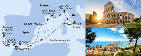 Routenverlauf MSC Mittelmeer ab/bis Marseille mit MSC Magnifica