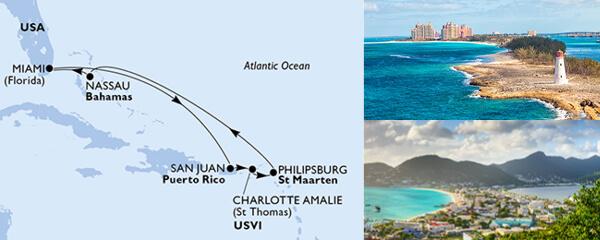 Routenverlauf 7 Tage Karibik & Antillen (MSC Seaside) am 14.09.2019