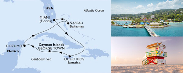 Routenverlauf 7 Tage Karibik, Kuba & Antillen (MSC Seaside) am 27.07.2019