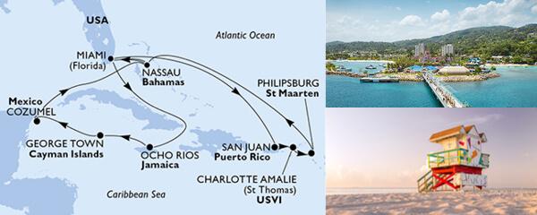 Routenverlauf 14 Tage Karibik, Kuba & Antillen (MSC Seaside) am 20.07.2019