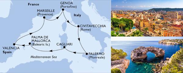 Routenverlauf MSC Mittelmeer mit MSC Divina