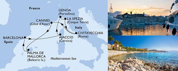Routenverlauf MSC Mittelmeer mit MSC Seaview