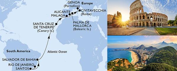 Routenverlauf MSC MSC Grand Voyages mit MSC Fantasia