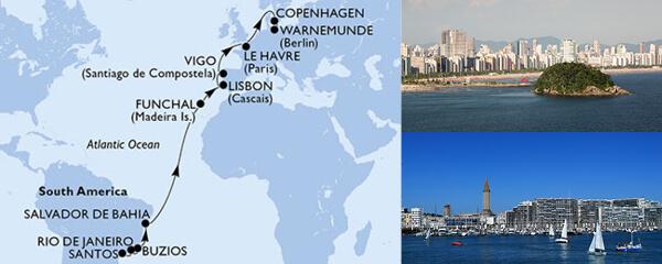 Routenverlauf MSC MSC Grand Voyages mit MSC Poesia