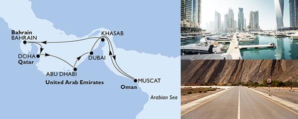 Routenverlauf MSC Dubai, Abu Dhabi & Indien mit MSC Lirica