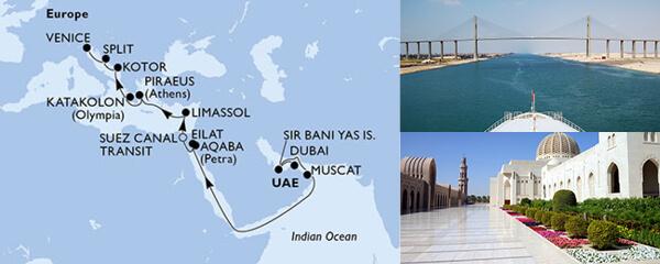 Routenverlauf MSC MSC Grand Voyages mit MSC Lirica
