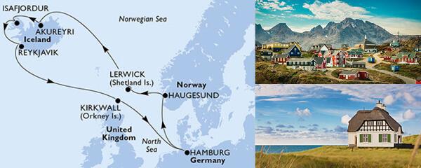 Routenverlauf MSC Nordeuropa mit MSC Orchestra