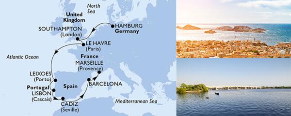 Routenverlauf 10 Tage Nordeuropa (MSC Orchestra) am 11.09.2019