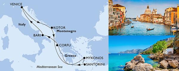 Routenverlauf 7 Tage Mittelmeer (MSC Opera) am 05.10.2019