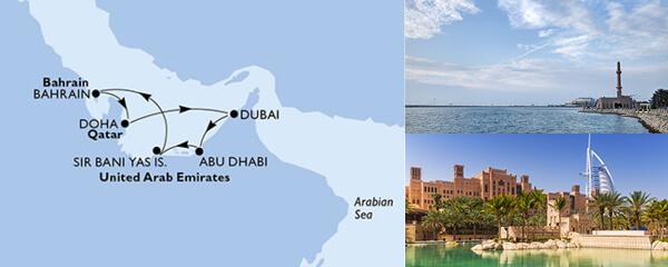 Routenverlauf MSC Dubai, Abu Dhabi & Indien mit MSC Bellissima