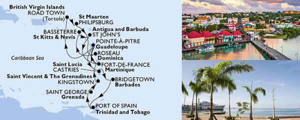 Routenverlauf MSC Karibik & Antillen mit MSC Preziosa