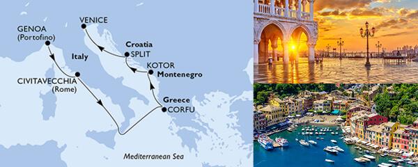 Routenverlauf MSC Mittelmeer mit MSC Magnifica