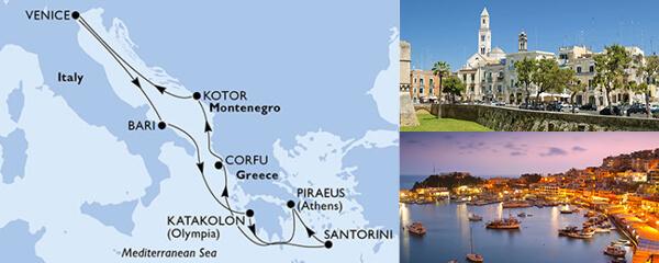 Routenverlauf 7 Tage Mittelmeer (MSC Magnifica) am 30.09.2019