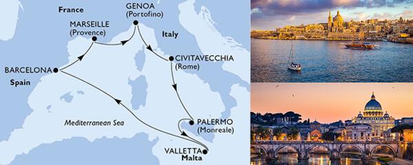 Routenverlauf MSC Mittelmeer mit MSC Grandiosa