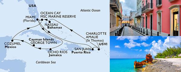 Routenverlauf 14 Tage Karibik & Antillen (MSC Seaside) am 14.03.2020