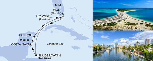 Routenverlauf MSC Karibik & Antillen mit MSC Armonia