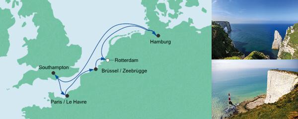 Routenverlauf Metropolen ab Rotterdam am 18.03.2021