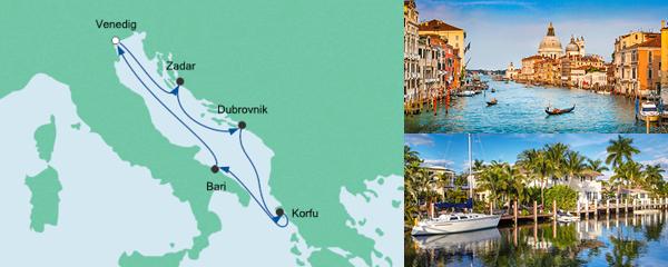 Routenverlauf Adria ab Venedig am 21.07.2019