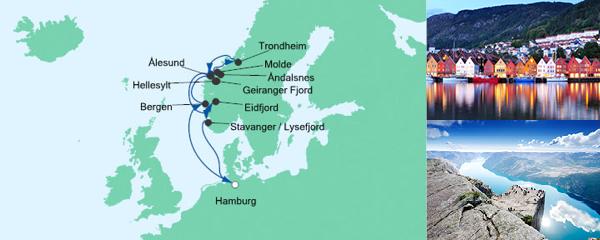 Routenverlauf Norwegens Fjorde am 06.07.2020