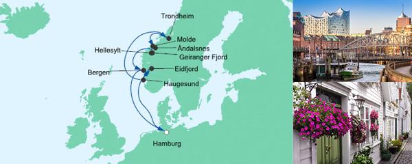 Routenverlauf Norwegens Fjorde am 15.08.2020