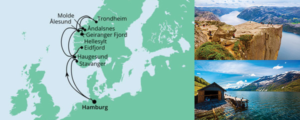 Routenverlauf Norwegens Fjorde am 15.10.2021