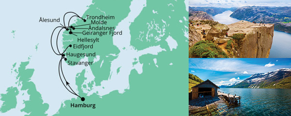 Routenverlauf Norwegens Fjorde am 30.05.2022